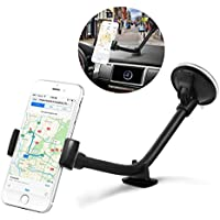 Car Mount Holder - Amoner Windshield Car Mount Phone Holder for iPhone X/8/8plus/7/7plus, 6/6s,5/5s, Samsung Galaxy/Note, HTC, LG and Most Cell Phones (Black)