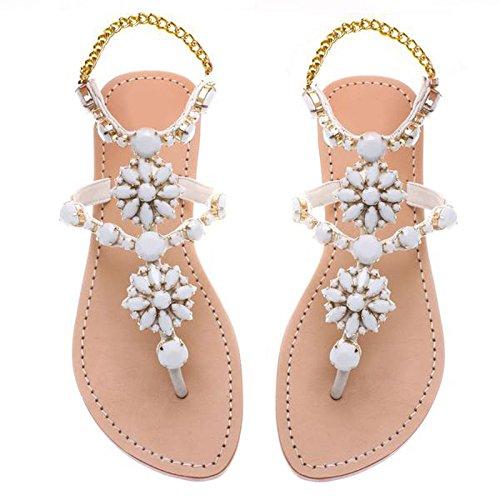 Sandalias sandalias diamante madera contrachapada playa de las sandalias White