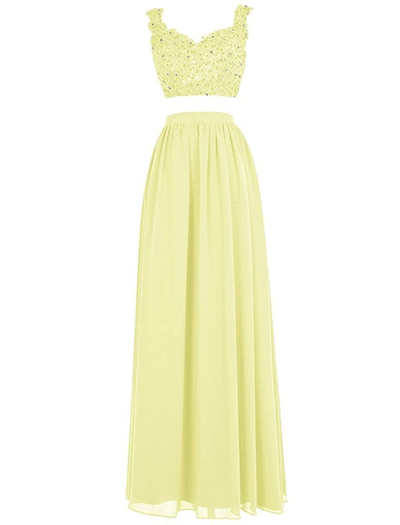 Yellow APXPF Women's Lace Bodice Two Piece Beaded Ball Gown Prom Dress