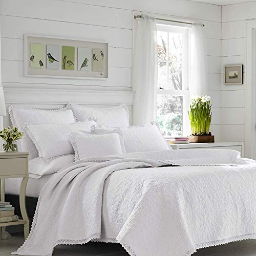 Laura Ashley 221297 Heirloom Crochet Quilt Set, King, White