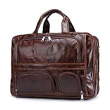 Baigio Men's Brown Top-Zip Leather 17 Inch Laptop Handbag Briefcases Tote