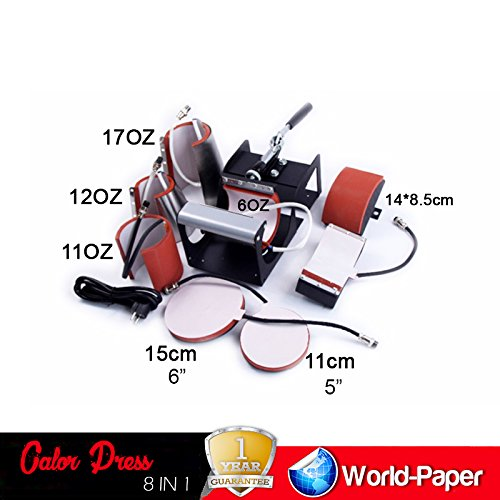 8 in 1 Heat Press Machine for t shirts machine combo kit swing away sublimation + 12 Sheets of 10'' x 12'' Of Heat Transfer Vinyl by Calor Press