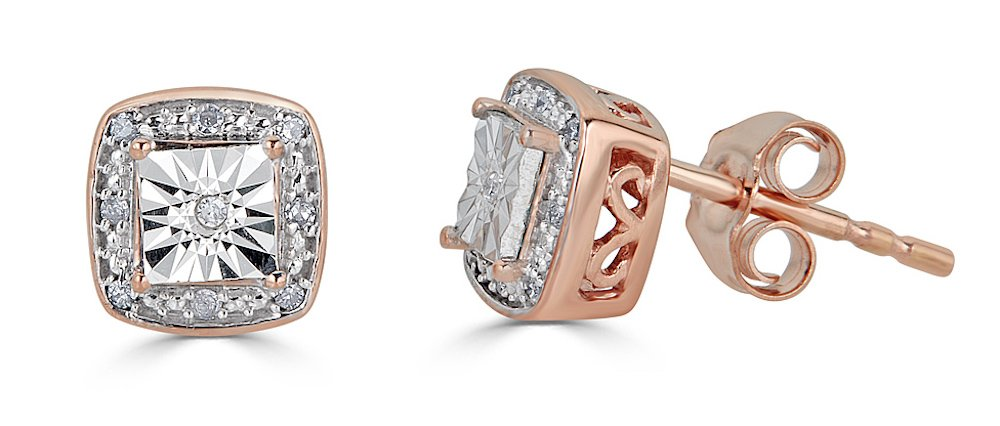 Diamond Fashion Stud Earrings in 10k Rose Gold and Rhodium Plated 10k White Gold