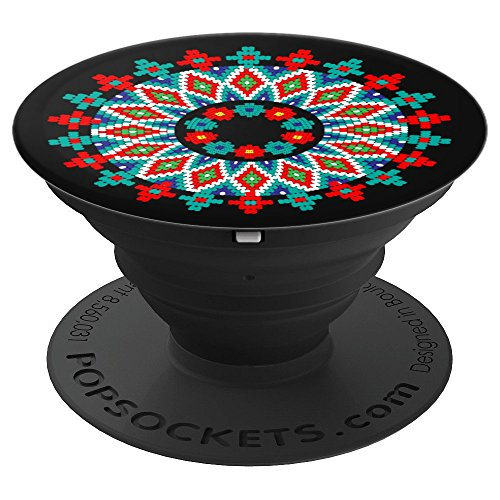 Native American Beaded Art Craft Gift, Black 16 - PopSockets Grip and Stand for Phones and Tablets ()
