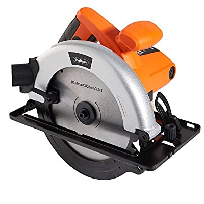 VonHaus 10 Amp 7-1/4 inch Circular Saw - Corded Multi Purpose Tool includes 1 x 24T TCT Blade