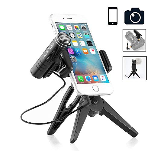 crophone Sound Studio Recording Broadcasting Microphone with Pop Filter and Shock Mount for Computer (Black with Phone Tripod) ()