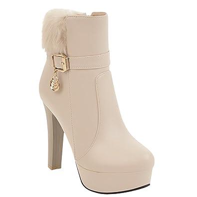 Women's Chic Pendants Zip High Heel Platform Dress Boots