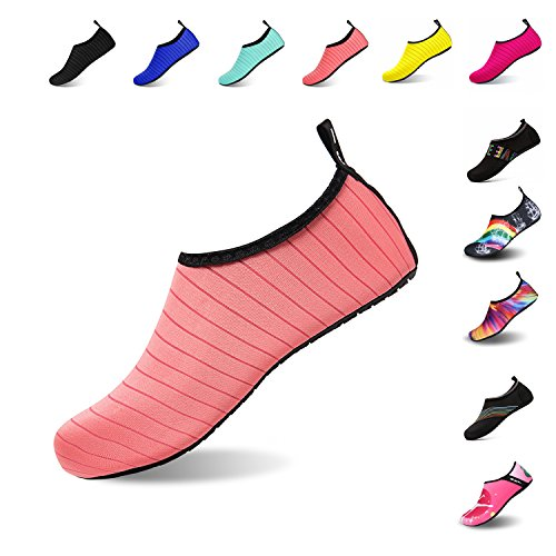 Mens Womens Water Shoes Barefoot Beach Pool Shoes Quick-Dry Aqua Yoga Socks for Surf Swim Water Sport (Pink, 36/37EU)