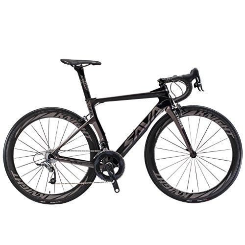 SAVADECK Phantom 5.0 700C Carbon Fiber Road Bike Cycling Bicycle with SRAM Force 22 Speed Group Set Hutchinson 25C Tire and Fizik Saddle (Black Grey 50cm) (Best Entry Level Carbon Fiber Road Bike)