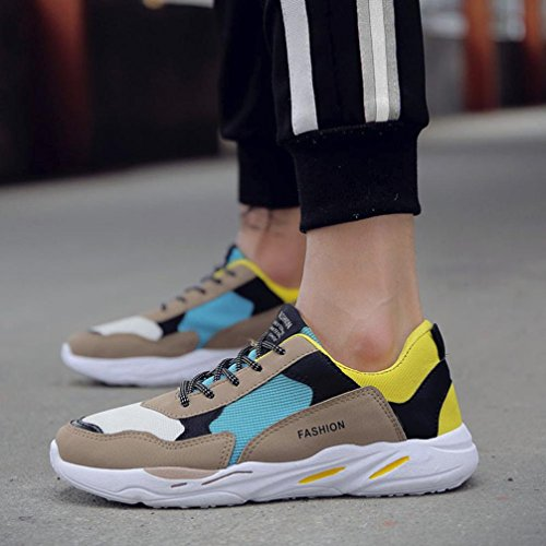 HLHN Men Running Shoes,Gym Patchwork Lace-up Cross Strap Sport Mesh Round Toe Breathable Casual Fashion Skate Shoes Yellow