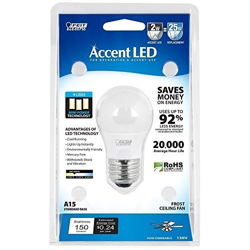 2w Accent Led (BPA15/LED Accent LED 2W/25W A15 Frosted Ceiling Fan Bulb)