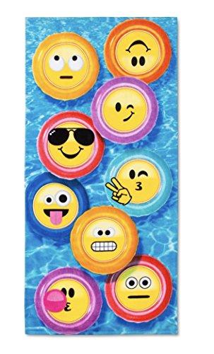 Emoji Beach, Pool, Bath Towel Blue/Yellow - Emojination
