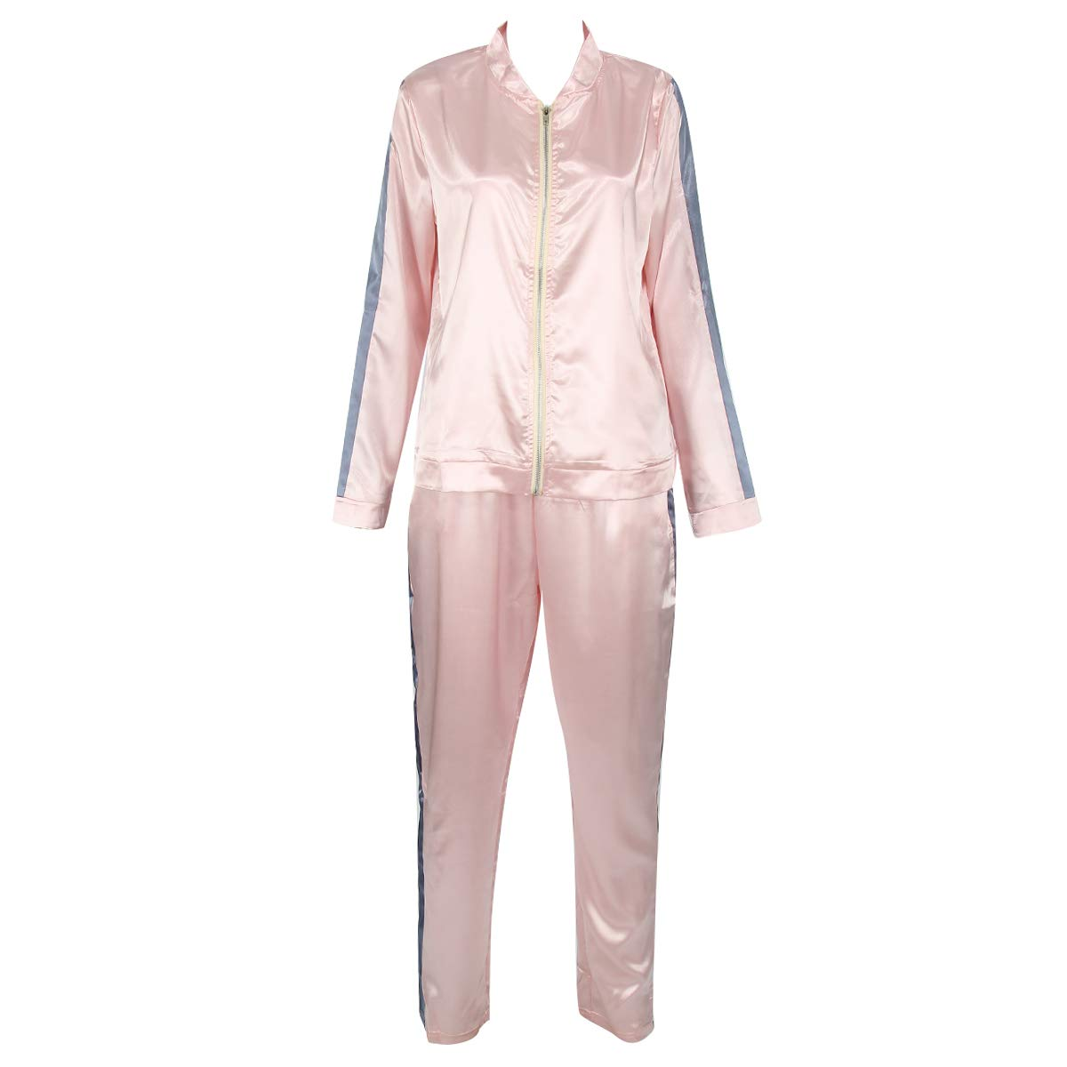 Chennie Damen Sportbekleidung mit Reißverschluss + lässige Hose für Training, Fitness, Workout, Yoga, 2 Stück