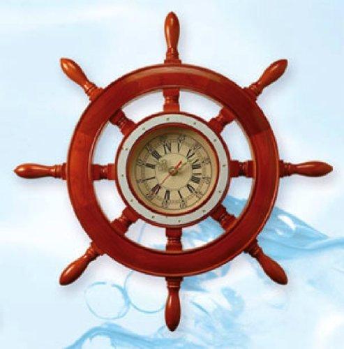 Lighthouse Brass Clock - 19 Inch Dia. Wooden Shipwheel Clock Nautical Ship Wheel