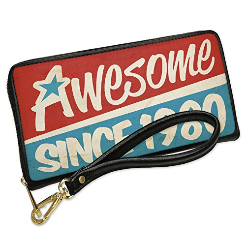1980 Clutch (Wallet Clutch Awesome since 1980, Birthday/Year with Removable Wristlet Strap Neonblond)