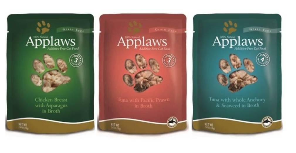 Applaws - Conjunto de 6 bolsas de comida para gatos 100 % natural, 3 sabores, 2 mechones de pollo con asparaguas, 2 tún/pato del Pacífico y 2 túnel con ...