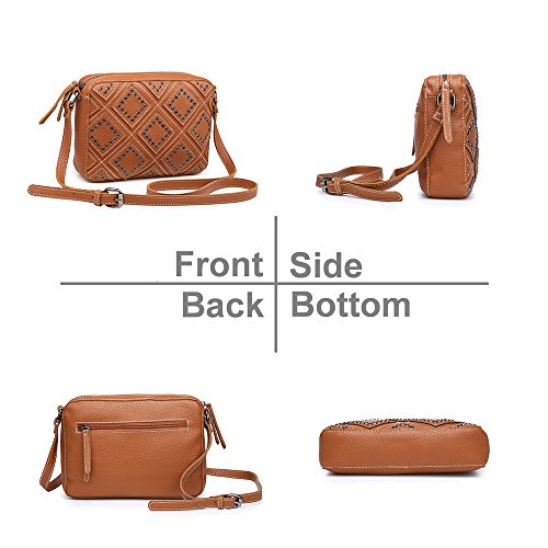 Shoulder Teens Stylish for Small Leather Girls Bags Faux Purse Tan Studed Bags for Handbags Crossbody Women qPAgvOq