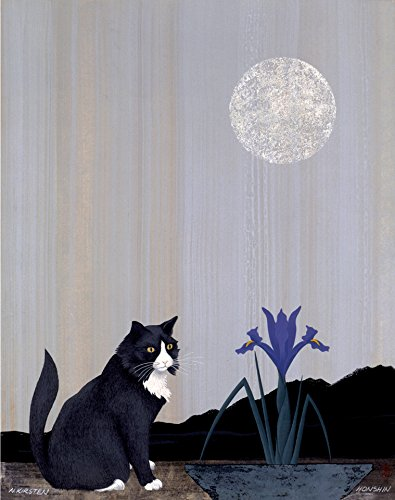 Zen Cat Meditates on Essence of Iris, Essence of Moon by Nicholas Kirsten-Honshin Direct from the artist, Limited Edition, Signed & Numbered by the Artist [ Off-Set Litho Print ]