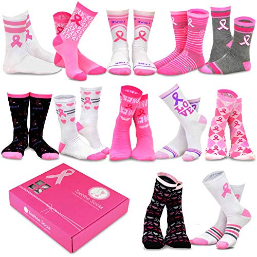 Pink Ribbon Items (TeeHee Special (Holiday) 12-Pairs Socks with Gift Box (9-11, Pink)