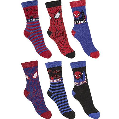6er Pack Spiderman Kinder Jungen Socken Strümpfe Gr. 27 - 34 (31-34)