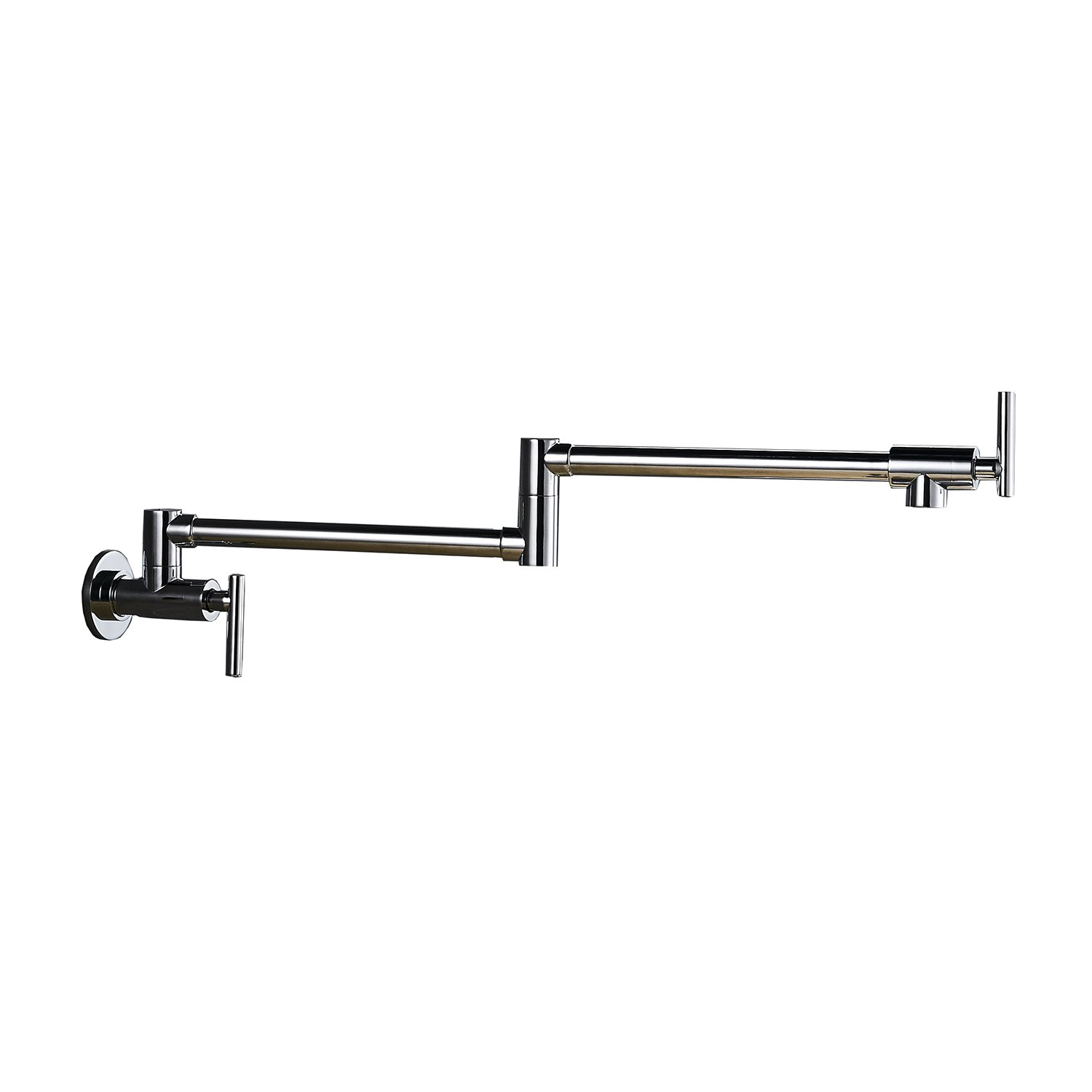 BWE Chrome Commercial Brass Pot Filler Faucet Folding Stretchable Double Joint Swing Arm Wall Mount Kitchen Faucet by BWE