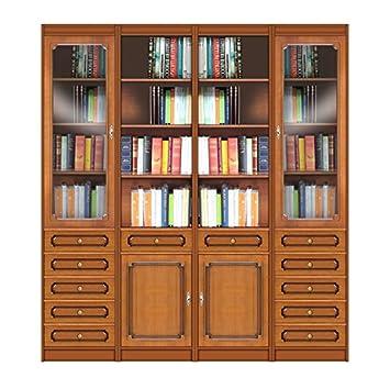 Amazon.de: Bücherregal Wohnwand aus Holz, Einrichtung für Wohnzimmer ...