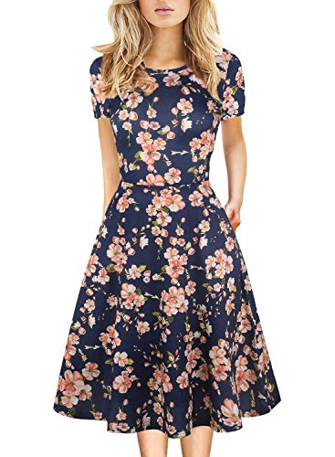 Prime Wardrobe Womens Clothing Vintage Beautiful Casual Short Sleeve Ladies Floral Fit Flare Party Cocktail Cotton Blend Swing Dress 162 (M, Navy)
