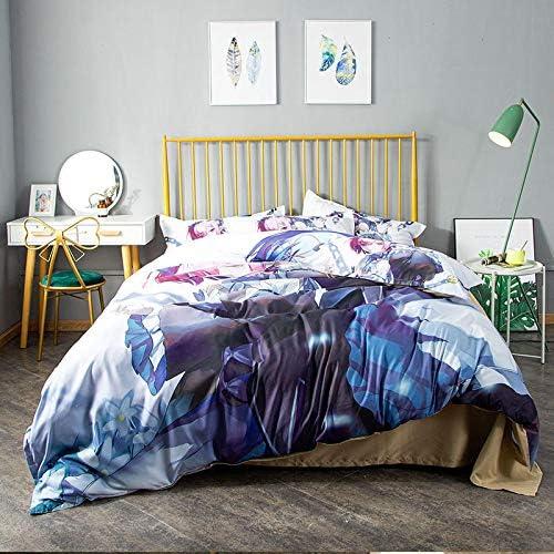 Anruo Dessin animé impression textile maison 4 pièces ensemble de literie poncée couverture de literie couverture de couette convient pour une literie de 1,5 m