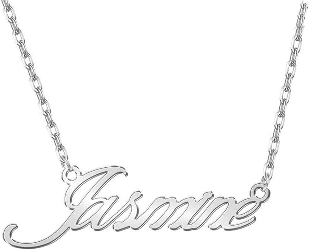 EYECO 925 Sterling Silver Personalized Custom Name Necklace With Birthstone Make Any Name Any Font Custom Pendant Jewelry For Women Men Girls