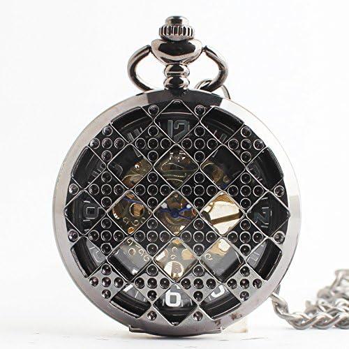 HBB Vintage / cuerdas de seguridad talladas / reloj de bolsillo / hombres y mujeres de moda mecánicos / talladas huecos relojes mecánicos / rejilla de acero de tungsteno