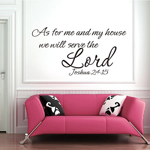 Bible Wall Decal As For Me And my house we will serve the Lord JOSHUA 24:15 Vinyl Wall Stickers (Large,Black)