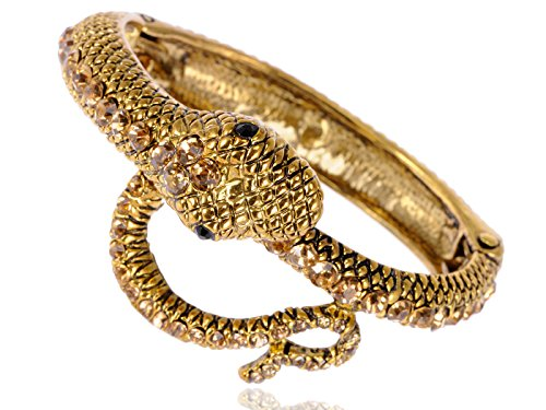 Alilang Gold Antique-like Egyptian Synthetic Topaz Blk Crystal Rhinestone Snake Cuff Bangle Bracelet