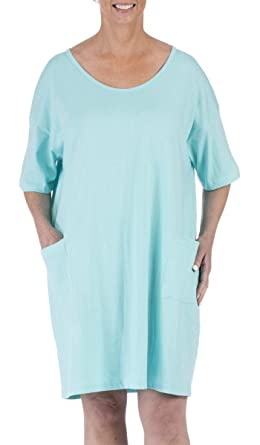 1f82005dc3 Amy Alder Sleep Nightshirt Nightgown Sleepshirt Nightdress Cover Ups  Coverup Cotton Solid (One Size Fits Most, Aqua) at Amazon Women's Clothing  store: