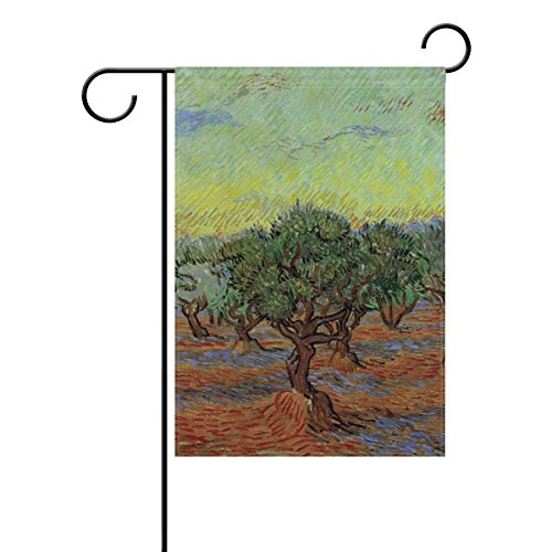 Yunnstrou Van Gogh Painting Olive Grove Garden Flag Waterproof Polyester Yard Flag House Flag Decoration Double Sided Flag 12 x 18 Inch -