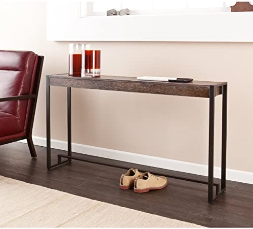 Macen Media Skinny Console Table – Slim Profile – Burnt Oak Wood Finish w Metal Frame