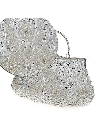 Whoinshop da donna, per abiti da sera, con lustrini, con perla incastonata, Wedding frizione Argento (argento)
