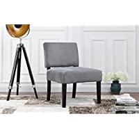 Modern Sleek Linen Fabric Accent Living Room Chair (Grey)