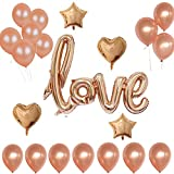 Echolife Valentines Day/Wedding Party Decorations Balloons Kit (25 Count) Rose Gold Love, Heart & Star Foil Balloons, Latex Balloons