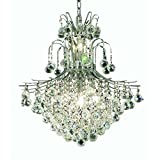 Elegant Lighting 8002D22C/EC Toureg Collection 11-Light Hanging Fixture with Elegant Cut Crystals, Chrome Finish For Sale
