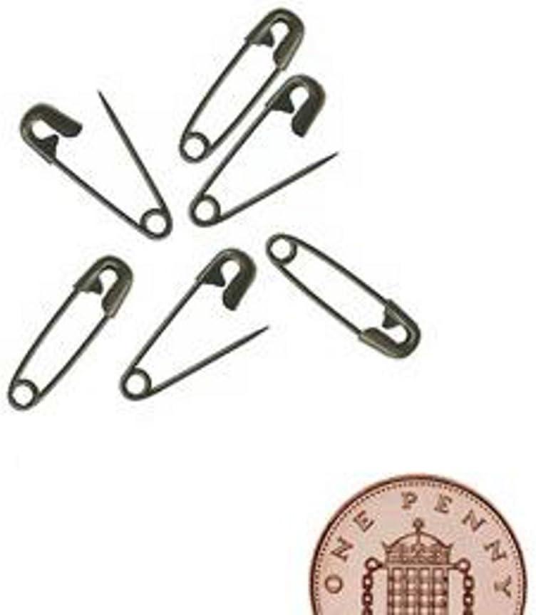 50 BLACK MINI SAFETY PINS 2CM//20MM
