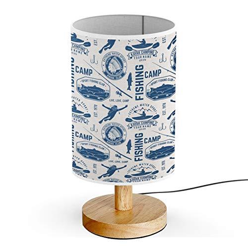 - ARTSYLAMP - Wood Base Decoration Desk Table Bedside Light Lamp [ Canoe Kayak Fishing Club ]