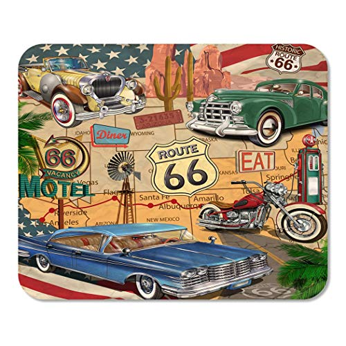Suike Mousepad Computer Notepad Office American Vintage Route 66 Diner Arizona Map Motorcycle 1950S Home School Game Player Computer Worker 9.5x7.9 Inch