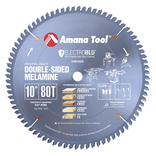 Amana Tool MB10800C Electro-Blu Carbide Tipped Double-Face Melamine 10 Inch D x 80T H-ATB, -6 Deg, 5/8 Bore, Non-Stick Coated Circular Saw (Melamine Saw Blade)
