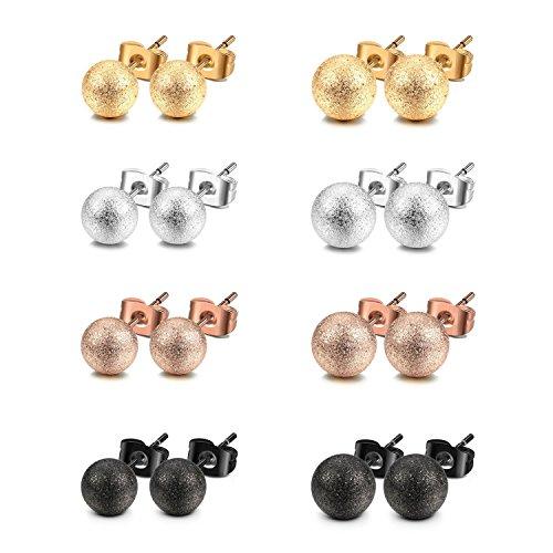 JewelrieShop Ball Earrings 316L Surgical Steel Earrings Round Ball Stud Earrings Set for Women Girls
