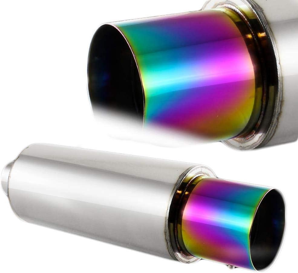 "4/"" Rainbow Burnt Tip Carbon Fiber Weld-On Exhaust Muffler 2.5/"" Inlet Universal 5"