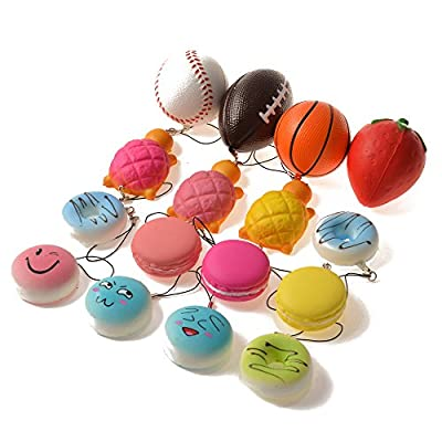BULLET FACE Squishy Charms Kawaii Soft Squishies Basketball/Football/Tennis Ball/Strawberry/Tortoise/Cake/Bread/Buns Toys Cell Phone Straps Key Chains Stress Relief toy Party Favors by Bullet Face that we recomend personally.