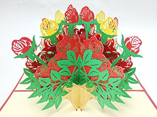 Creve 3D Popup Greeting Card Birthday Card Rose Flower Basket