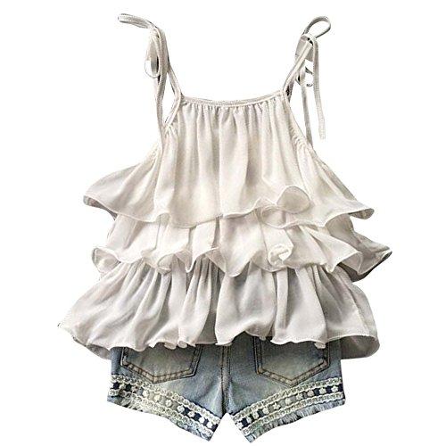 Fabal 2017 Girls Summer Clothes Kids Girls Chiffon Pearl Vest Shirt +Short Pants Outfits Clothes Set