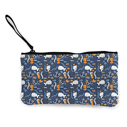 Oomato Canvas Coin Purse Whale Sea Creatures Cosmetic Makeup Storage Wallet Clutch Purse Pencil Bag -