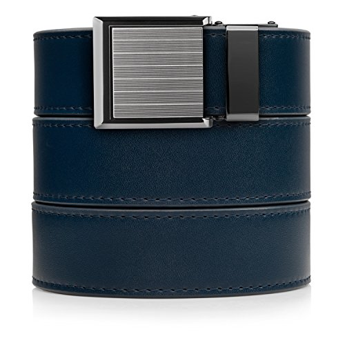 Animal-Friendly Navy Leather with Square Pinstripe (Square Buckle Belt)